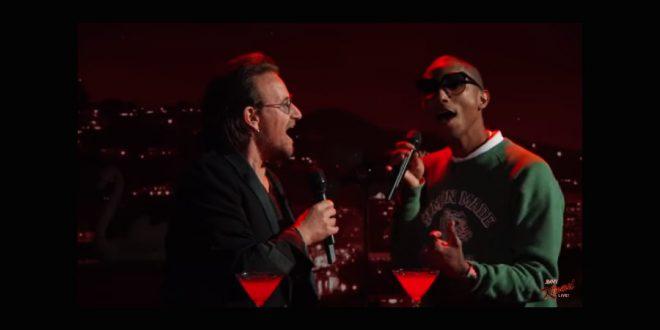 """Bono e Pharrell Williams fazem cover de """"Stayin ´Alive"""", do Bee Gees"""